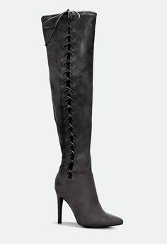 Copy the models' favorite trend, suede over-the-knee heeled boots, with Vanetta. Her seductive side lacing and pointed-toe silhouette will elevate your simplest jean-and-t-shirt combo to model standards of chic....