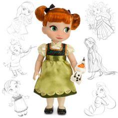 """Mit dieser """"Anna""""-Animator-Puppe haben die Disney-Künstler die Zeit auf magische Art zurückgedreht! Die Puppe stellt die abenteuerlustige Prinzessin perfekt dar. Sie hat rotes Haar, trägt ein Satinkleid, und hat ein kleines """"Olaf""""-Kuscheltier dabei."""