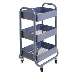 Features heavy duty metal construction with three deep bins.<br>With three shelves and four rolling casters, the Home Storage Cart meets storage and space saving needs in the house, office, classroom, or anywhere else.<br>Four rolling casters, two with locking brakes, make the cart mobile and easy to move from room to room.<br>Stylish indigo adds a touch of colorful fun to any decor.