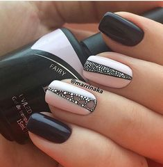 Cute girl nail designs are something we all aspire too. That is why we have consulted expert nail artists for easy nail art for beginners. Dark grey and Pink base nail polish colors with rhinestone accents Winter Nail Art, Winter Nails, Fall Nails, Classy Nail Designs, Nail Art Designs, Nails Design, Classy Nails, Simple Nails, Pink Nails