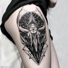 Brand New Blackwork Thigh Tattoo From Otheser! #blackwork #dotwork #dotism…