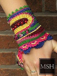 Jewel crochet beaded cuff bracelet party prom by MySecretHistory