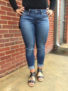Distressed Denim Jeans: Dark Denim $69.00