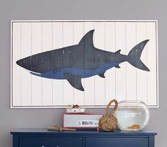 Planked Wood Shark Artwork for my little guys Shark themed room