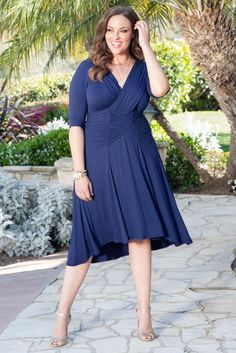 Attending a wedding and want to be the best dressed guest? Looking for a mother of the bride or mother of the groom dress that would be perfect? Our plus size Refined Ruched Dress is your answer! A flowy skirt, intricate gathering and details make this THE dress. Explore our entire made in the USA collection or your special occasion online at www.kiyonna.com.