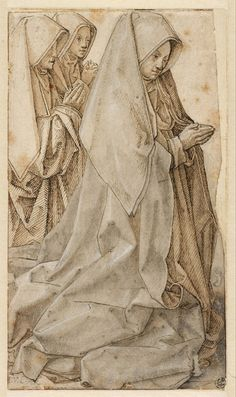 """Three women kneeling in prayer"", Anonymous, c (Museum Boijmans Van Beuningen) Kneeling In Prayer, Saints And Sinners, Medieval Times, Rembrandt, Drawing Sketches, Drawings, Religious Art, 16th Century, Art History"
