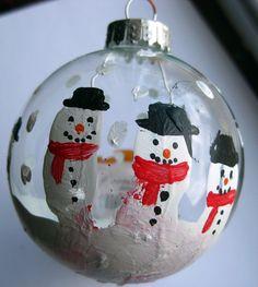 Snowmen ornaments made from a child's finger/fingerprint