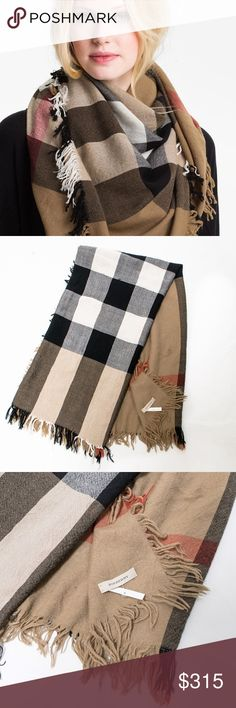 """Burberry Square House Check Merino Wool Scarf Sz.L Details & Care Extra-fine merino wool lends unmistakable style to a lush scarf that's both lightweight and cozy. 43 1/2"""" square; 2"""" fringe. 100% Merino wool; dry clean. Made in Scotland. Item #594367 * This item is New but was returned to Nordstroms and is in 95% condition. Very small and minimal fringes can be spotted if looked at very closely. 100% Authentic Guarented. Our store buys items that were returned to Nordstroms. Contact us if…"""