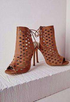 Laser cut tieback sandals -Tan