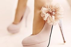 pink heels with a flower for your wedding