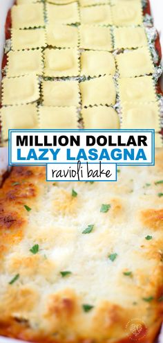 Million Dollar Lazy Lasagna: Baked Ravioli Casserole Recipe. Easy dinner idea for kids and families. Everyone loves lasagna! Baked Ravioli Casserole, Ravioli Bake, Ravioli Recipe, Dinner Casserole Recipes, Lasagna Casserole, Yummy Pasta Recipes, Cooking Recipes, Yummy Food, Recipes With Lasagna Pasta
