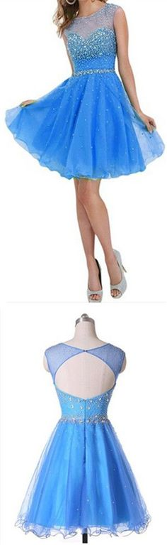 LJ56 Short Prom Dress,Blue Homecoming Dress,Beading Homecoming Dresses,Cocktail