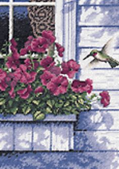 Dimensions® Flowers and Hummingbird Counted Cross-Stitch Kit CAD Cross Stitch Books, Cross Stitch Love, Counted Cross Stitch Patterns, Cross Stitch Designs, Cross Stitch Embroidery, Ribbon Embroidery, Dimensions Cross Stitch, Flower Chart, Punto De Cruz