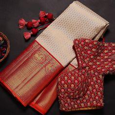 Kerala Saree Blouse Designs, Wedding Saree Blouse Designs, Wedding Sarees, Latest Silk Sarees, Saree Jewellery, Silk Sarees Online Shopping, Wedding Saree Collection, Traditional Silk Saree, Simple Blouse Designs