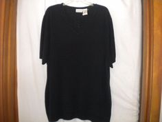 White Stag Plus Size 26W/28W Short Sleeve Black Soot Short Sleeve Women Sweater #WhiteStag #Sweater #Versatile