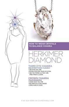 Chart about how Herkimer Diamond work to open the Third Eye and Crown Chakra | How Herkimer Diamond Crystal work to manifest what you want.