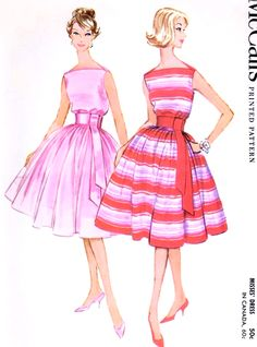 1960s BEAUTIFUL Cocktail Party Evening Dress Pattern McCALLS 5313 Bateau Neckline Full Skirt Dress Bust 36 Vintage Sewing Pattern FACTORY FOLDED