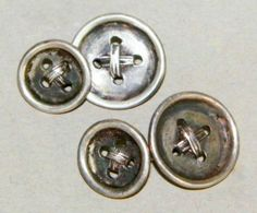 VINTAGE 1930'S STERLING BUTTON CHAIN CUFFLINKS #Handmade