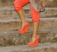 Great color and peep toe wedges