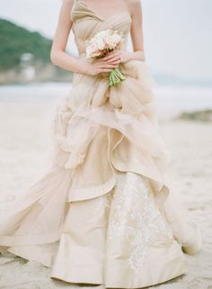 This nude wedding dress is so breathtaking! | Photography: Alea Lovely // Gowns: Vivian Luk Atelier