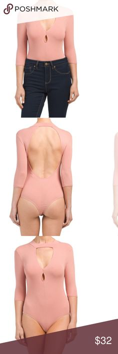 Only 1! 🆕 Choker Collar Bodysuit w/ Open Back 🌟 Beautiful material! It's all about the unique touches on this bodysuit and the shade of pink is beautiful. More Product Details in Last Photo.   Boutique Piece🍾 NWT🎀 Price Firm🌹   As this is a boutique piece, we have priced it at our best already. Limited quantity, so take it home if it's calling your name! #treatyourself 🛍 Twice Chic Boutique Tops