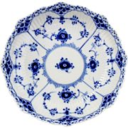 Royal Copenhagen Blue Fluted Half Lace Footed Cake DIsh