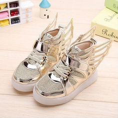 1a622a23765 Fashion Boys Girls Led Light Wings Shoes Children Gold Pink Silver Sport  Sneakers Autumn Winter Glowing