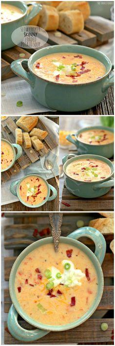 skinny #slowcooker potato soup #crockpot | The Cookie Rookie