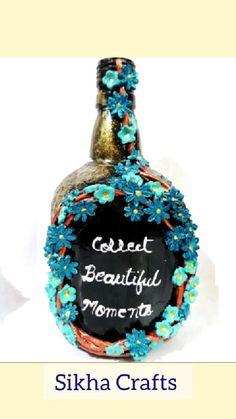 Plastic Bottle Art, Glass Bottle Crafts, Glass Bottles, Hand Art Kids, Indian Arts And Crafts, Diwali Diy, Flower Pot Crafts, Homemade Playdough, Painted Wine Bottles