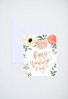 Wedding / Love Greetings - Happy Wedding Day - Painted & Hand Lettered Cards - by ShannonKirsten on Etsy Hearty Congratulations, Wedding Congratulations Card, Wedding Paper, Wedding Cards, Hand Lattering, Wedding Letters, Holiday Icon, Happy Wedding Day, Letter Art