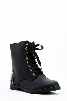 Faux Leather Lace up Biker Flat Ankle Boots