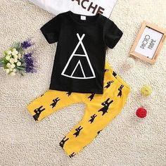 #Black & #Yellow  #T-Shirt & #Pant Set  For #Toddler Boys https://www.banyancentral.com/products/t-shirt-pant-set