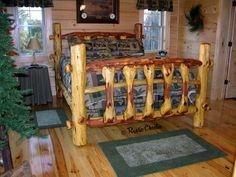 handmade, rustic, knob bed, cedar furniture, lodge, log cabin