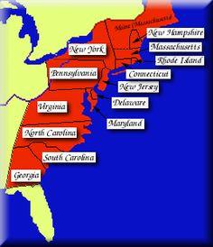 Thirteen Colonies Map Of The Thirteen Colonies Social Studies - Blank map of 13 us colonies