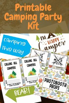 Free Printable Camping Party Kit - Complete with invitations, party favor cards, photo booth props, decorations, and wall decor! Perfect for your camping party in the woods, in your RV or at home!