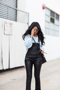 Black leather overalls are body conscious and street savvy. Leather Overalls, Leather Pants, Black Leather, Weekend Dresses, Sartorialist, Dungarees, Dress Codes, Walking, Jumpsuit