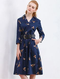 1940s Inspired Bee Mine Sweetheart Retro Print Dress with pockets