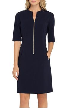 Stitch Fix: Love the zipper and the sleeve length. Deep navy is almost black and my idea of brightening things up for Spring / Summer. Navy Dress, Dress Up, Spring Dresses, Dresses For Work, Zip Front Dress, Sweet Dress, Petite Dresses, Nordstrom Dresses, Designer Dresses