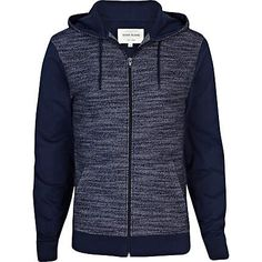 NAVY KNITTED FRONT CONTRAST SLEEVE HOODIE