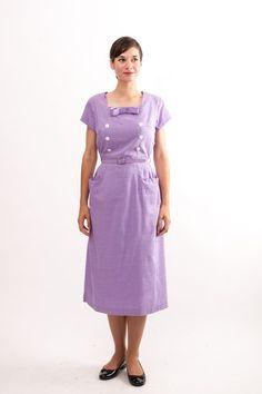 Vintage 1950s Dress - 50s Wiggle Dress - Lilac Purple. $72.00, via Etsy.