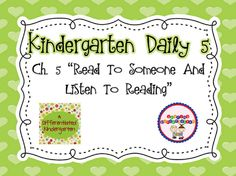 The Daily Alphabet: Kindergarten Daily 5 Book Study: Chapter 5