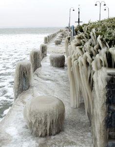 Thick ice covers the shore of Hungary's Lake Balaton.