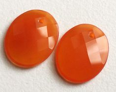 Fanta Orange Faceted Oval Chalcedony 2 pcs by gemsforjewels