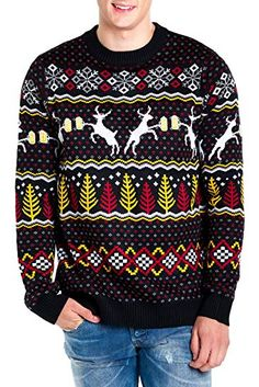4d820a4ed Amazon.com  Tipsy Elves Men s Deer with Beer Christmas Sweater - Black  Caribrew Ugly Christmas Sweater  Clothing