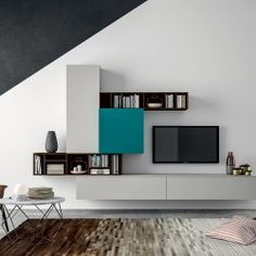 Mueble modular de pared composable SLIM 101 By Dall'Agnese diseño Imago Design Tv Furniture, Furniture Design, Modular Furniture, Home Interior, Decor Interior Design, Tv Wall Design, House Design, Tv Unit Design, Living Room Tv