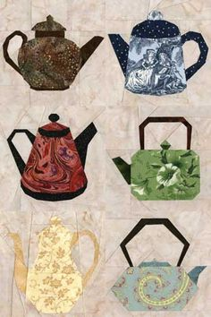 Quilt Inspiration: Life is like a cup of tea : Teapot patterns for paper piecing… Paper Pieced Quilt Patterns, Quilt Block Patterns, Applique Patterns, Applique Quilts, Pattern Blocks, Quilt Blocks, Quilting Projects, Quilting Designs, Asian Quilts
