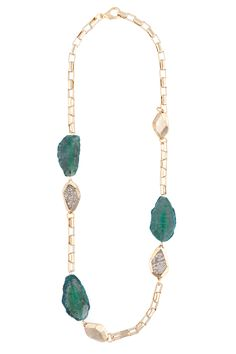 Section Gemstone Bead Necklace with Cast and Inset Beads, Gold with Emerald Stones and Gold Washed Ring Lizard Inset