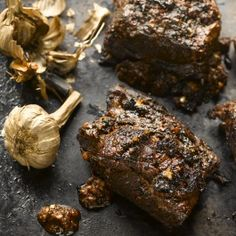 Ottolenghi Barbecue beef short ribs with black garlic and urfa chilli | KA: very tender and flavorful--I substituted some chipotle chili powder for the urfa since that's what I had on hand.
