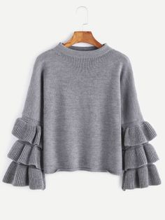 Shop Grey Layered Ruffle Sleeve Pullover Sweater online. SheIn offers Grey Layered Ruffle Sleeve Pullover Sweater & more to fit your fashionable needs.