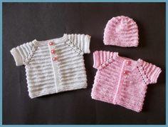 Preemie Cardi and Matching Hat